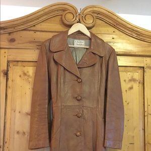 VTG EUC brown leather women's coat